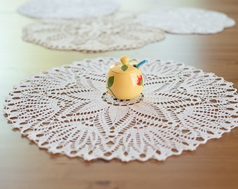 Now 30% off, Round white hand crochet doily from Poland 44 cm (ca. 17.3in)