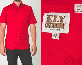 Vintage 1970's red Ely Cattleman short sleeve western shirt // pearl snap buttons