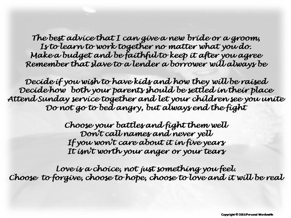 Marriage Advice Poem Digital Print Downloadable Wedding