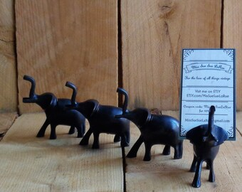 Vintage Elaphants Set of 4 Elephant Place Card Holders