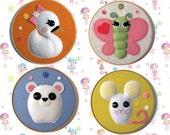 4x Lalaloopsy Pets (Swan, Butterfly, Bear and Mouse) PDF Pattern, Felt Pattern, Plush Pattern