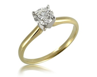 Gold ring with a big diamond for your girlfriend
