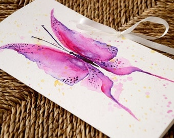 Pink watercolor butterfly card