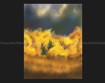 Digital Painting, Autumn Day, Landscape Painting, Autumn Painting, Scenic Painting, Print, Wall Decor, Wall Art, Fall Painting