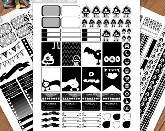 Monsters Printable Planner Stickers, Black and white Stickers, Weekly- Monthly Kit, Erin Condren Sticker,Printable Sampler, Instant download