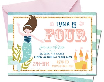 Mermaid Party Invite || Personalised Party Invitation || Childrens Birthday Party || THE LUNA COLLECTION