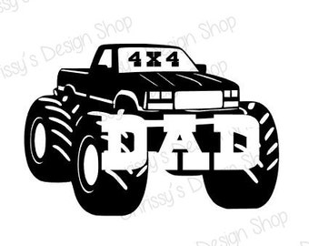 Monster truck dad svg and silhouette / 4x4 dad svg / truck svg / monster truck svg /big truck svg / 4x4 silouette / dad silhouette / vinyl