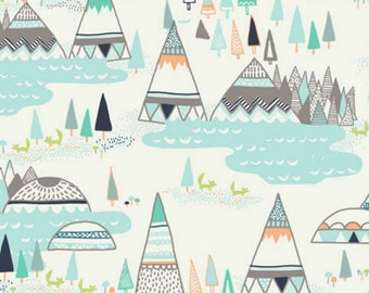 Indian Summer, Woodland Pine,  Teepees, Art Gallery Fabrics,  Woodland Fabric, Nursery Fabric, fabric by the yard, IS-50010