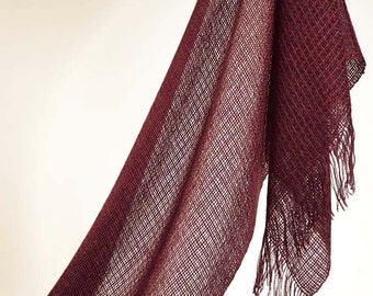 Handwoven shawl, dark red. Summer shawl. Elegant bridal shawl. Handwoven pashmina tencel and mohair. Silky handwoven shawl.