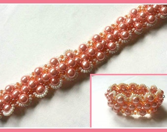 Salmon color glass pearl bracelet