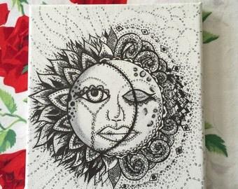 Sun and Moon Original Handmade Illustration