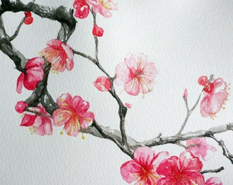 Flower Painting, Pink Flower watercolor, ORIGINAL cherry blossom watercolor