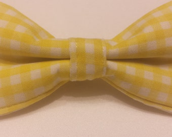 SALE Boys Yellow and White Plaid Bowtie