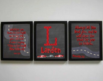 Kids Decor for Room - Race Car themed room, Red and Black Cars, Road Pictures for bedroom - Two verses and Race Car Name picture