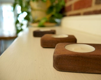 Tea light candle holders - Set of 3 - Walnut