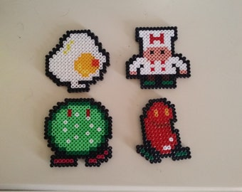 Magnet pixel Burger Time in Hama beads
