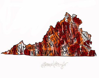 DIGITAL DOWNLOAD Virginia Tech Printable Wall Art, Maroon and Orange, VT, Hokies, Hokie Football, College football, Go Hokies