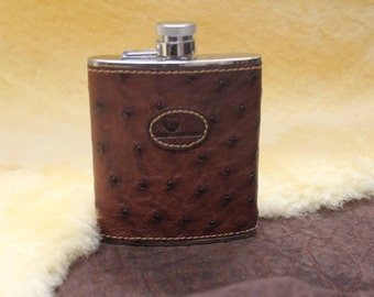 Hip flask made of ostrich leather
