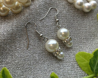 White Pearl Earrings for Bridal,Wedding,or Gift