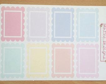 Planner Sticker- Scalloped Full Boxes: for the Happy Planner, EC, Filofax, Kikki. K and more