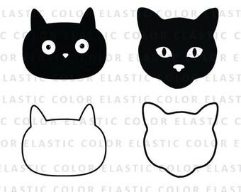 Cat face svg - cat face clipart - cat face digital vector svg, dxf, eps, png