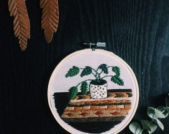 Potted Plant Embroidery Hoop Art - Wall Hanging - Home Decor