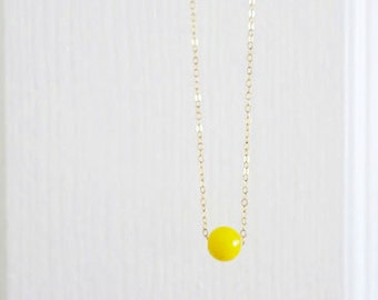 Single Stone Necklace, Delicate 14k Gold Fill or Sterling Silver Chain, Everyday Necklace, Tibetan Yellow Beads Japa Mala, just1gold