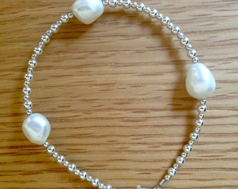Sterling silver beads, baroque white pearls bracelet