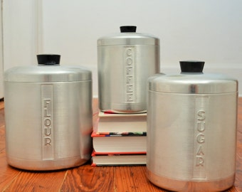 Vintage Kitchen Canisters - Coffee, Flour, Sugar