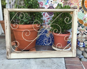 Old Wood Window, Wrought Iron Gate, Shabby Chic Wall Decor, Rustic Decor