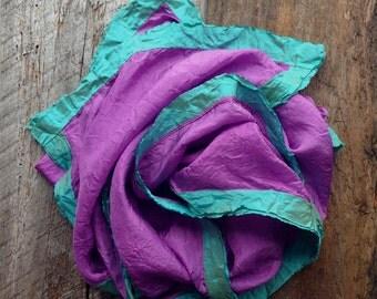 Pink Silk Scarf | Orchid Pink Silk Scarf | Hand Dyed Silk Scarf | Gift for Her | Boho Scarf | Minimalist Scarf | Yoga Scarf | Modern Scarf