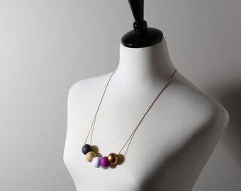 bead necklace with polymer clay beads in different colours/gifts for her/bridesmaid gifts/ladies birthday gifts