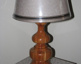 Wood table lamp, hand-crafted