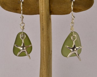 Earrings in olive sea glass and starfish / sea glass / sterling silver