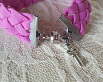 Pink braided charm bracelet - purple braided charm bracelet - pink purple braided bracelet - pink purple charm bracelet