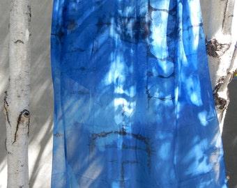 Shibori Hand Dyed Silk Scarf