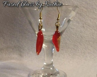 Red Clear Swirl Fused Glass Earrings - 3D Abstract - Transparent Fused Glass Earrings Organic Jewelry OOAK - 564