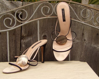 SERGIO ROSSI Leather High Heel Sandal size 39.5 open toe Shoes with shell detail Summer Sandals