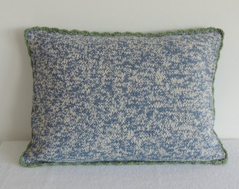 knitted blue  pillow cover