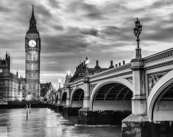 London Photography -- Big Ben and Wesminster, London Art, London Print, London Skyline