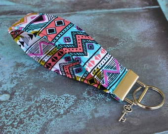 Fabric Keychain, Key Fob Wristlet, Key Fob Keychain, Key Wrist Strap, Stocking Stuffer, Gift Under 10, Gift for Her, Key Lanyard