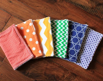 The Rainbow Bundle, burp cloth set, burp cloths, colorful, bright, red, orange, yellow, green, blue, purple, gender neutral, baby gift,