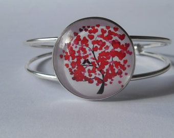 Bracelet type slave tree of life patterned red (hearts)