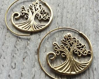 Tree of life earrings, Symbolic earrings, Tribal earrings, Boho earrings, Ethnic earrings, Gold brass earrings