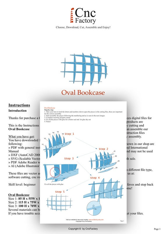 oval bookcase template cnc cutting file sliced 3d model like this item