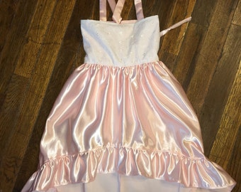 Pink satin high low dress.  Size 4