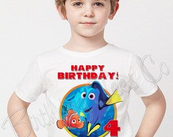 Finding Dory Shirt Add Name & Age Finding Nemo Custom Birthday Party Tshirt