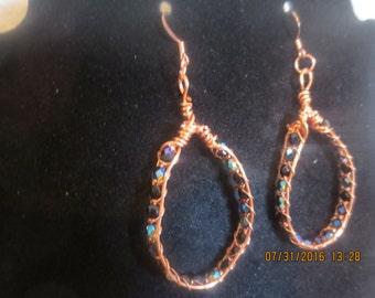 0068-Wire Wrapped Black Crystal Earrings