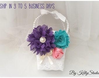 Flower Girl Basket, Purple and Teal, Elegant Wedding, Vintage Style, Bridal, Purple,Teal, Wedding basket