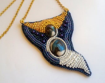 Bead Embroidery pendant, resing cabochon